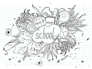 Back to school. vector background, doodle pattern