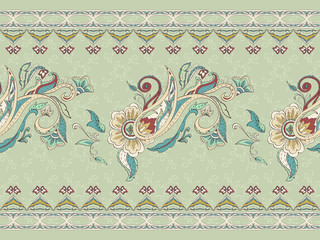 Ornate floral paisley embroidery, design for print clothes or te