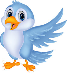 Cute cartoon blue bird waving