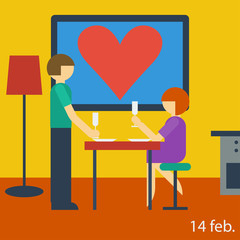 bright illustration with couple in the room in Valentine's day