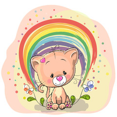 Cat with rainbow