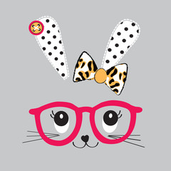 cute bunny face with glasses vector illustration