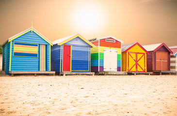 Beautiful Bathing houses on beach at Brighton beach in Melbourne
