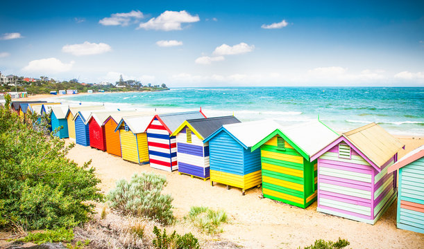 Beautiful Bathing houses on white sandy beach at Brighton beach,
