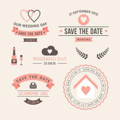Wedding set of label, badges, stamp and design elements