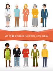 Set of 10 detailed flat characters on white