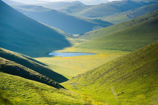 landscape view of  Campo Imperatore plateau abruzzo italy