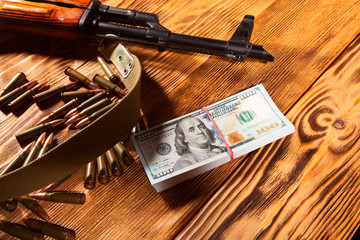 Kalashnikov ammunition and US dollars
