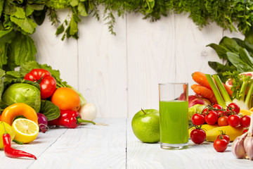 Fresh juice, mix fruits and vegetable