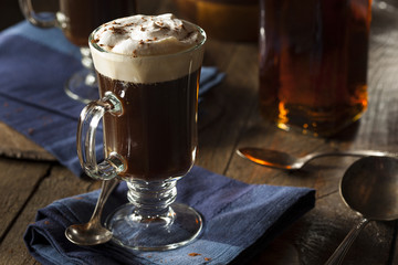 Homemade Irish Coffee with Whiskey