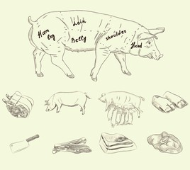pork set. vector sketches