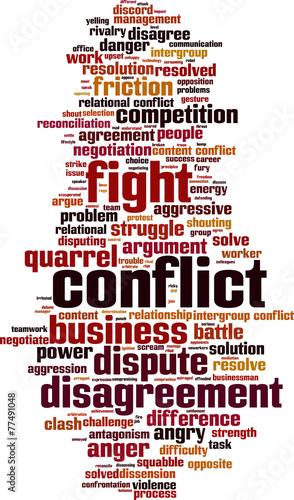 Conflict word cloud concept  Vector illustration