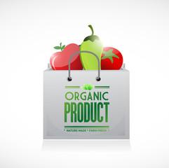 organic product shopping bag illustration design