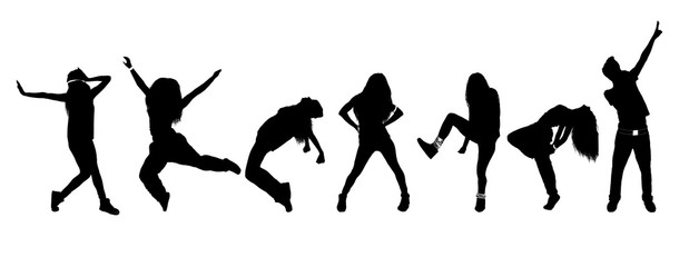 Silhouettes of dancing people isolated on white