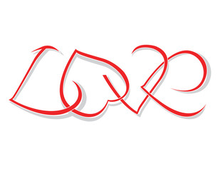 "The word ""love"" of woven hearts. Vector illustration"