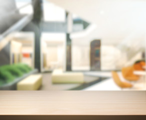 Wood Table  Top Background In Office 3d render