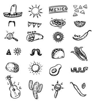 Hand drawn doodle mexican icons set