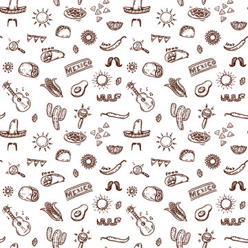 Mexican sign and symbols doodles hand drawn pattern