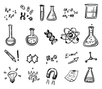 Hand drawn chemistry and science icons
