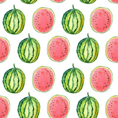Hand drawn watercolor pattern with watermelon