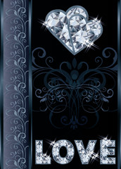 Diamond love valentines day card, vector illustration