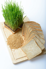 wheat grass,whole wheat bread and wheat grains