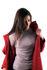Woman with red coat