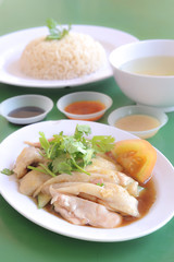 Hainanese chicken rice served at a food court