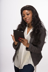 African American black woman using tablet pc computer