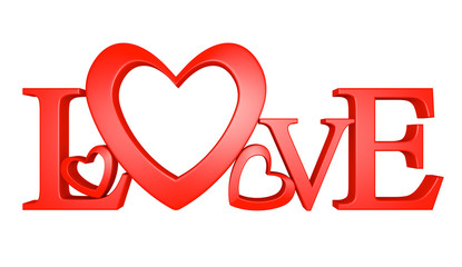 3D text of the word love with one letter forming a heart shape