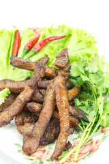 Fried pork, Thai food served with vegetable