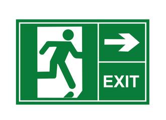 Exit sign, exit way, exit vector Wall mural