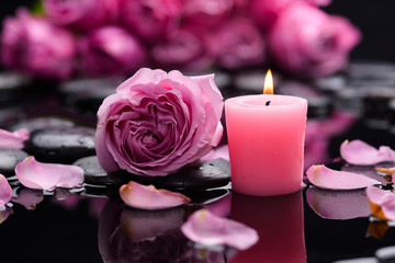 Deurstickers Spa Pink rose with candle ,petals and therapy stones