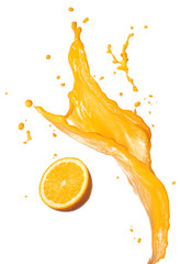 Foto op Canvas Sap orange juice splashing