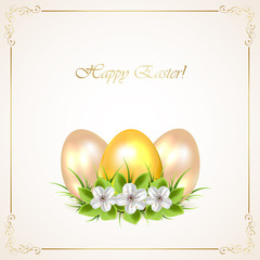 Golden Easter eggs with flowers