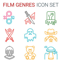 Flat line icons set of professional film production, movie