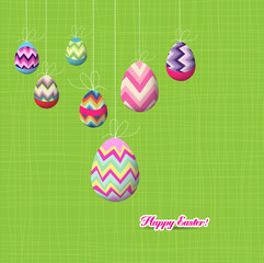 happy easter eggs hanging on the wire background