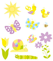 Collection of spring elements- vectors for children