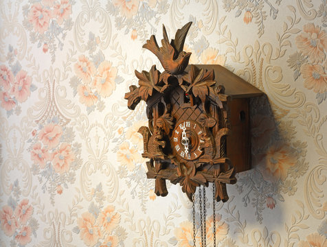 cuckoo clock on old wallpaper