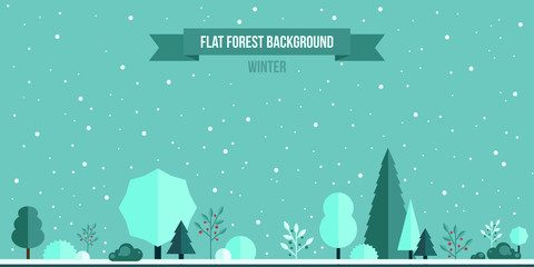 Winter forest flat background