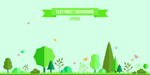 Spring forest flat background
