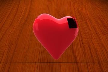 Wall Mural - Composite image of heart with open door