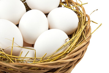 white eggs in the basket