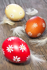 Three painted easter eggs