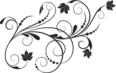 Floral pattern with decorative branch. Vector illustration.
