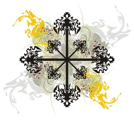 Abstract tribal cross with splashes