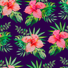 Tropical pattern. Hibiscus, monstera leaf, palm leaves. Seamless