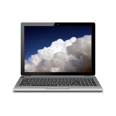 Laptop computer isolated on white with clouds on screen