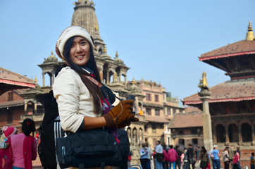 Traveler and Nepalese people come to Patan Durbar Square