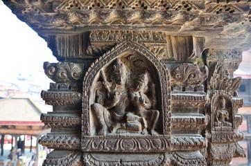 Wood carving in Patan Durbar Square
